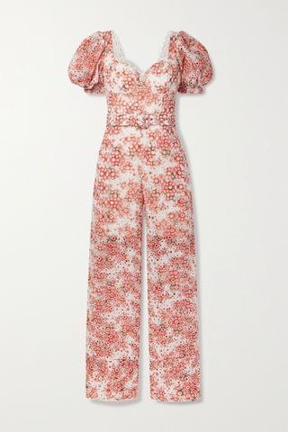 WOMEN CHARO RUIZ Pippa belted printed broderie anglaise cotton-blend jumpsuit