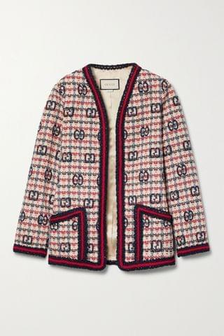 WOMEN GUCCI Checked wool-blend tweed jacket