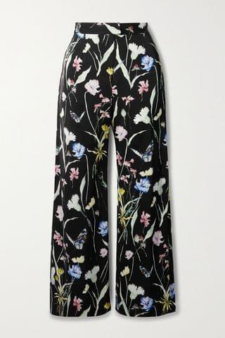 WOMEN JASON WU COLLECTION Floral-print matte-satin straight-leg pants