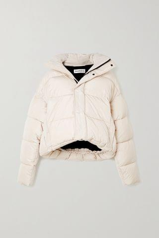 WOMEN BALENCIAGA BB oversized cropped hooded quilted shell jacket
