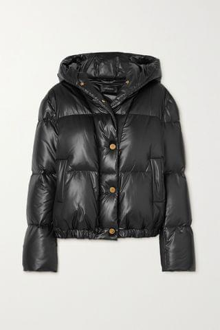 WOMEN VERSACE Hooded quilted shell down coat