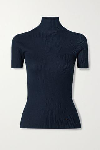 WOMEN AKRIS Ribbed mulberry silk and cotton-blend turtleneck top