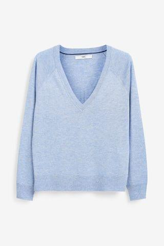 WOMEN Blue V-Neck Jumper