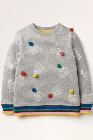 KIDS Boden Grey Pom Cosy Sweatshirt