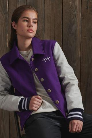 WOMEN Superdry Limited Edition Dry Leather Varsity Jacket