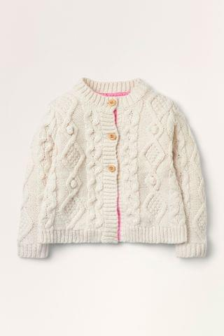 KIDS Boden Ivory Cable Cardigan