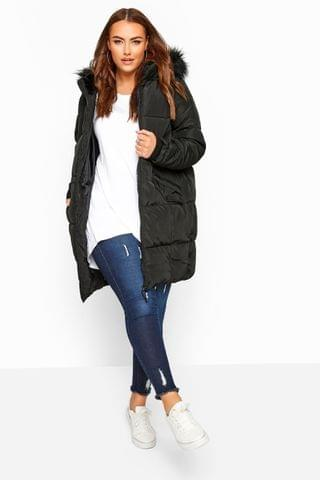 WOMEN Yours Curve Long Puffed Coat With Popper Side