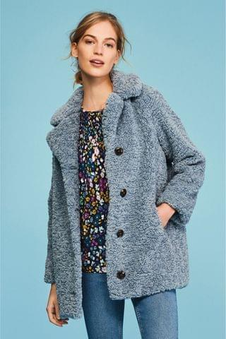 WOMEN Blue Teddy Borg Coat