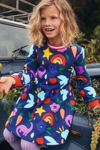 KIDS Boden Navy Printed Sweatshirt Dress