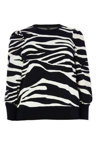 WOMEN River Island Plus Black Long Sleeve Zebra Blouson Sleeve Sweatshirt