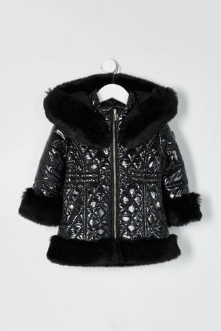 KIDS River Island Black High Shine Faux Fur Hem Padded Jacket