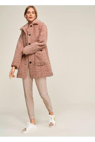 WOMEN Pink Teddy Borg Coat