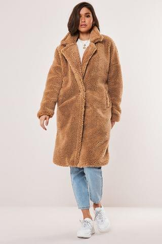 WOMEN Missguided Tan Borg Teddy Oversized Coat