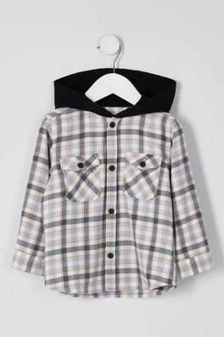 KIDS River Island Stone Light Mb Checked Hooded Overshirt
