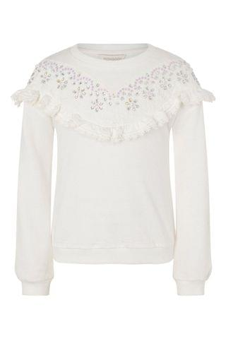 KIDS Monsoon Natural Lace And Gem Sweatshirt