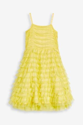 KIDS Yellow Tulle Tiered Party Dress (3-16yrs)