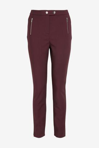 WOMEN Berry Elastic Back Skinny Zip Detail Trousers