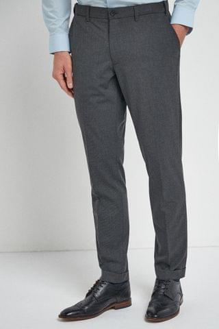 MEN Grey Puppytooth Check Motion Flex Skinny Fit Trousers