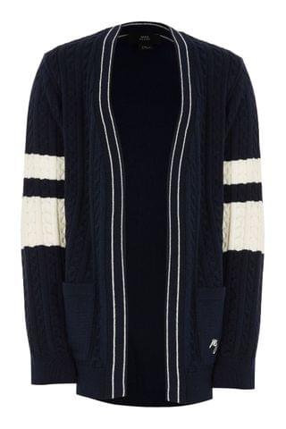 KIDS River Island Navy Blocked Cable Cardigan