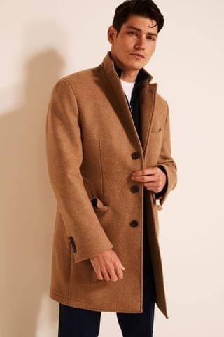 MEN Moss 1851 Camel Tailored Fit Double Faced Overcoat