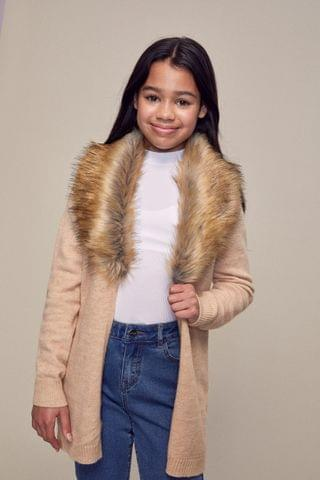 KIDS Lipsy Faux Fur Cardigan
