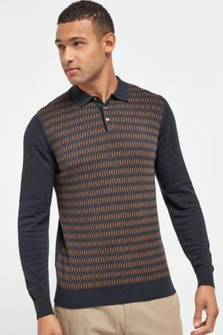MEN Navy Check Knitted Polo