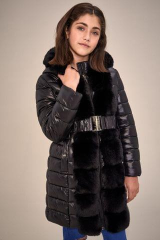 KIDS Lipsy Faux Fur Front Belted Padded Coat