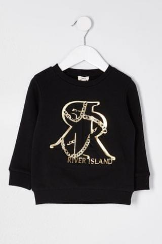 KIDS River Island Black Foil Embossed Sweater