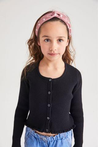 KIDS Black Rib Cardigan (3-16yrs)