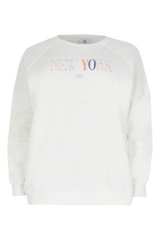 WOMEN River Island Plus White New York Embroidered Sweater