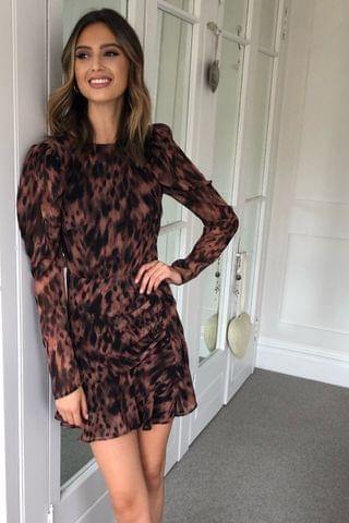 WOMEN Lipsy Printed Puff Sleeve Mini Dress