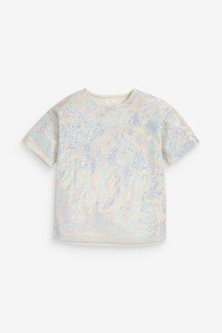KIDS Silver Oversized Disco T-Shirt (3-16yrs)