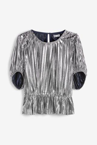 KIDS Silver Pleated Foil Party Top (3-16yrs)
