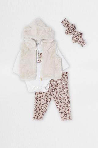 KIDS River Island Beige Leopard Velour Babygrow Outfit