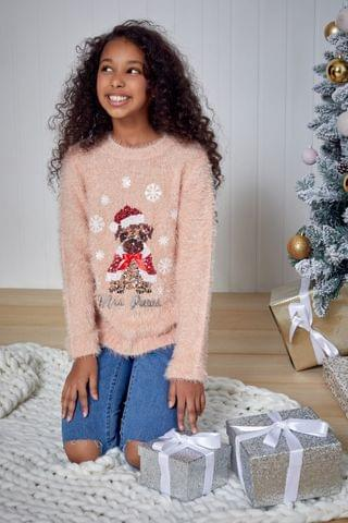 KIDS Fashion Union Girls Crew Neck Knit Christmas Jumper