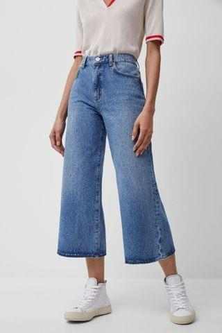 WOMEN French Connection Blue Pipper Denim Cropped Wide Leg Jeans