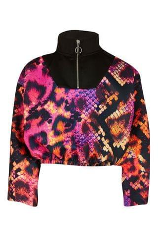 KIDS River Island Pink Bright Hype Snake Funnel Sweater
