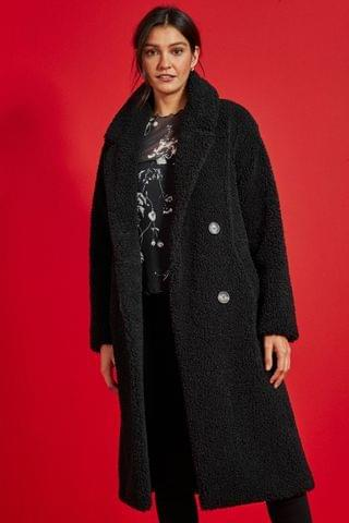 WOMEN Black Longline Teddy Borg Coat