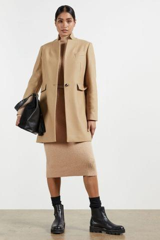 WOMEN Ted Baker Brown Bianza Straight Tailored Coat