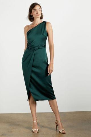 WOMEN Ted Baker Green Zaaraa One Shoulder Fold Detail Dress