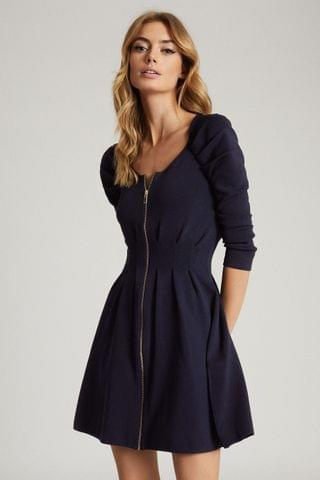 WOMEN Reiss Blue Mckenzie Zip Through Knitted Dress