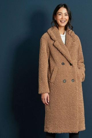 WOMEN Camel Longline Teddy Borg Coat