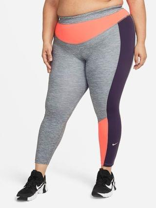 WOMEN 7/8 Heathered Color-Block Leggings (Plus Size) Nike One