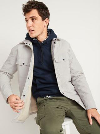 MEN Water-Resistant Sherpa-Lined Quilted Shirt Jacket for Men