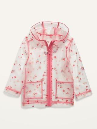 KIDS Translucent Valentine-Print Hooded Rain Jacket for Toddler Girls