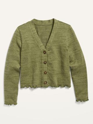 KIDS Cropped Plush-Knit Button-Front Cardigan Sweater for Girls