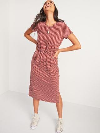 WOMEN Waist-Defined Slub-Knit Midi T-Shirt Dress