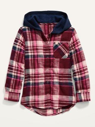 KIDS Plaid Flannel 2-in-1 Shirt Hoodie for Girls