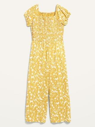 KIDS Printed Short-Sleeve Smocked Jumpsuit for Girls