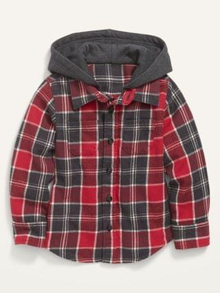 KIDS Hooded Plaid Flannel Shirt for Toddler Boys